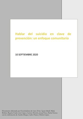 Hablar del suicidio en clave de prevención